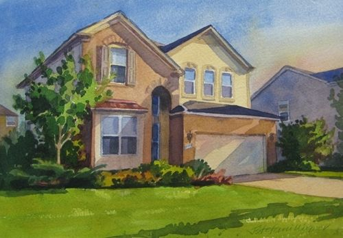 Custom Made Watercolor Home Portraits