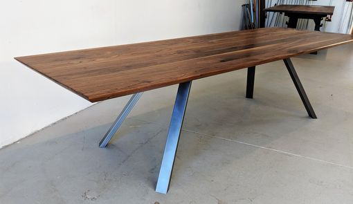 Custom Made Modern Industrial Walnut Dining Table