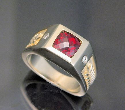 Custom Made 14kt Yellow Gold Mens' Ring With Checkerboard Cut Garnet And .20cts Total Weight Diamonds