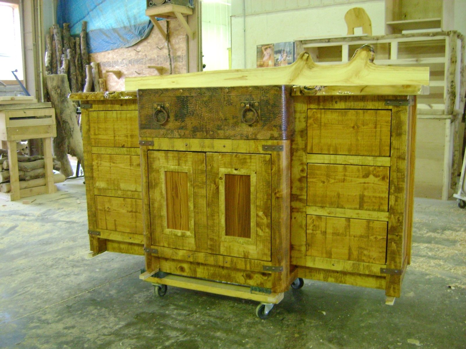 handmade custom reclaimed barn wood bathroom vanity with aspen
