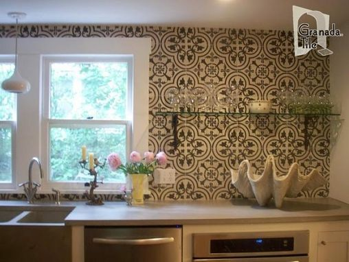 Custom Made Custom Tile Kitchen Backsplash - Cluny Cement Tile
