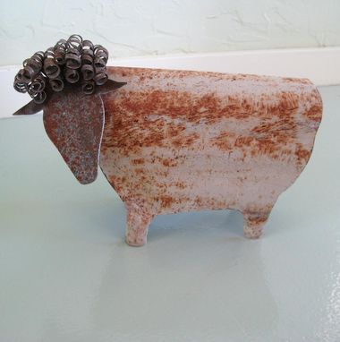 Custom Made Handmade Upcycled Metal 3d Sheep Sculpture