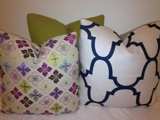 Custom Made Moroccan Pillow Cover - Indigo Blue And White Pillow Cover