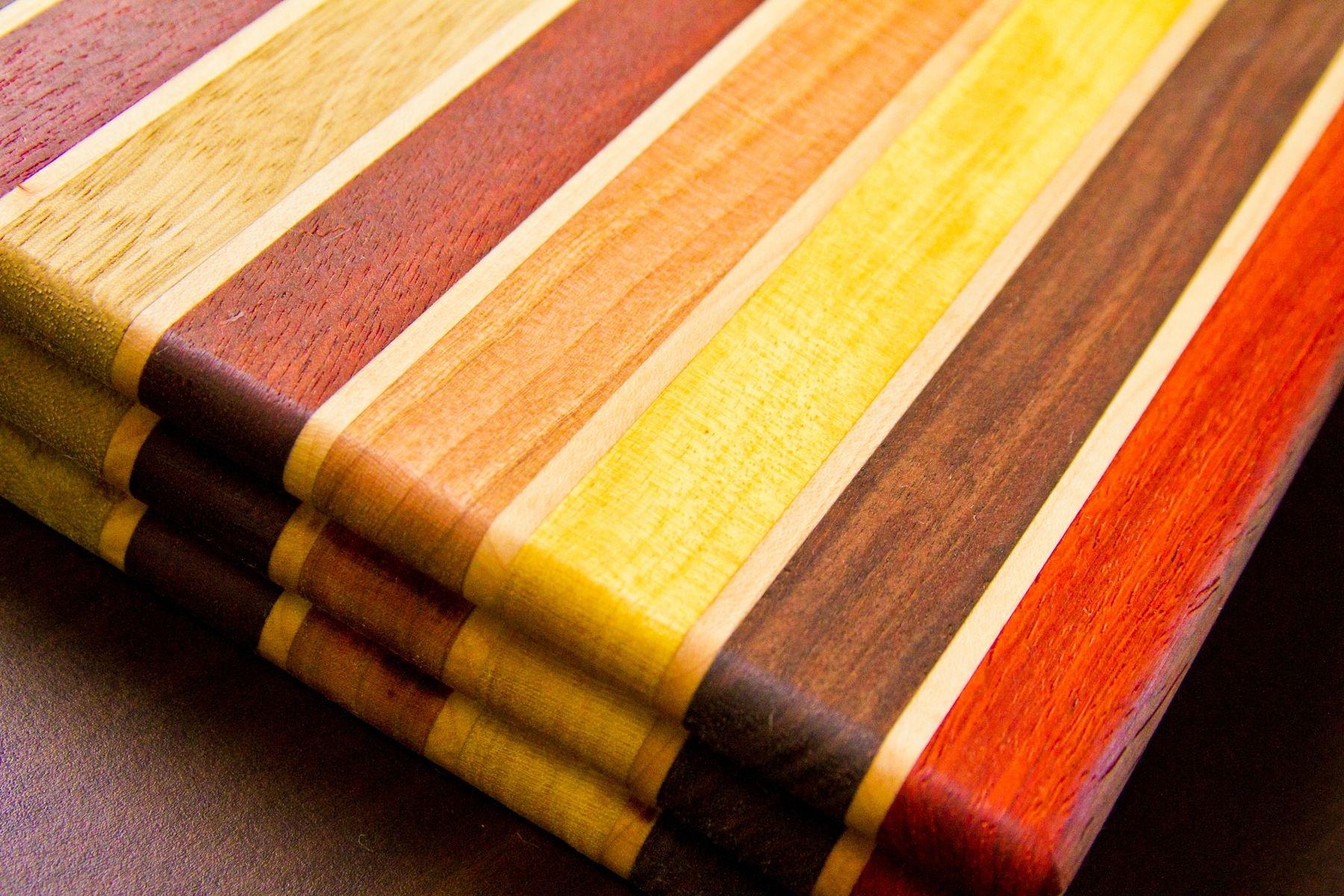 Custom Made Multi Color All Natural Hardwood Cutting Block Board