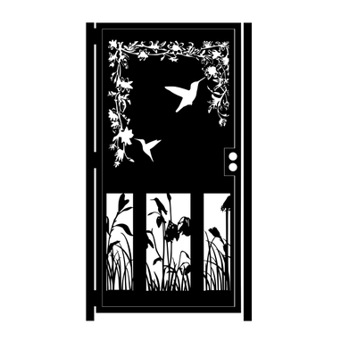 Custom Made Artistic Steel Gate - Security Gate - Hummingbird Garden Gate - Wall Panel - Handmade