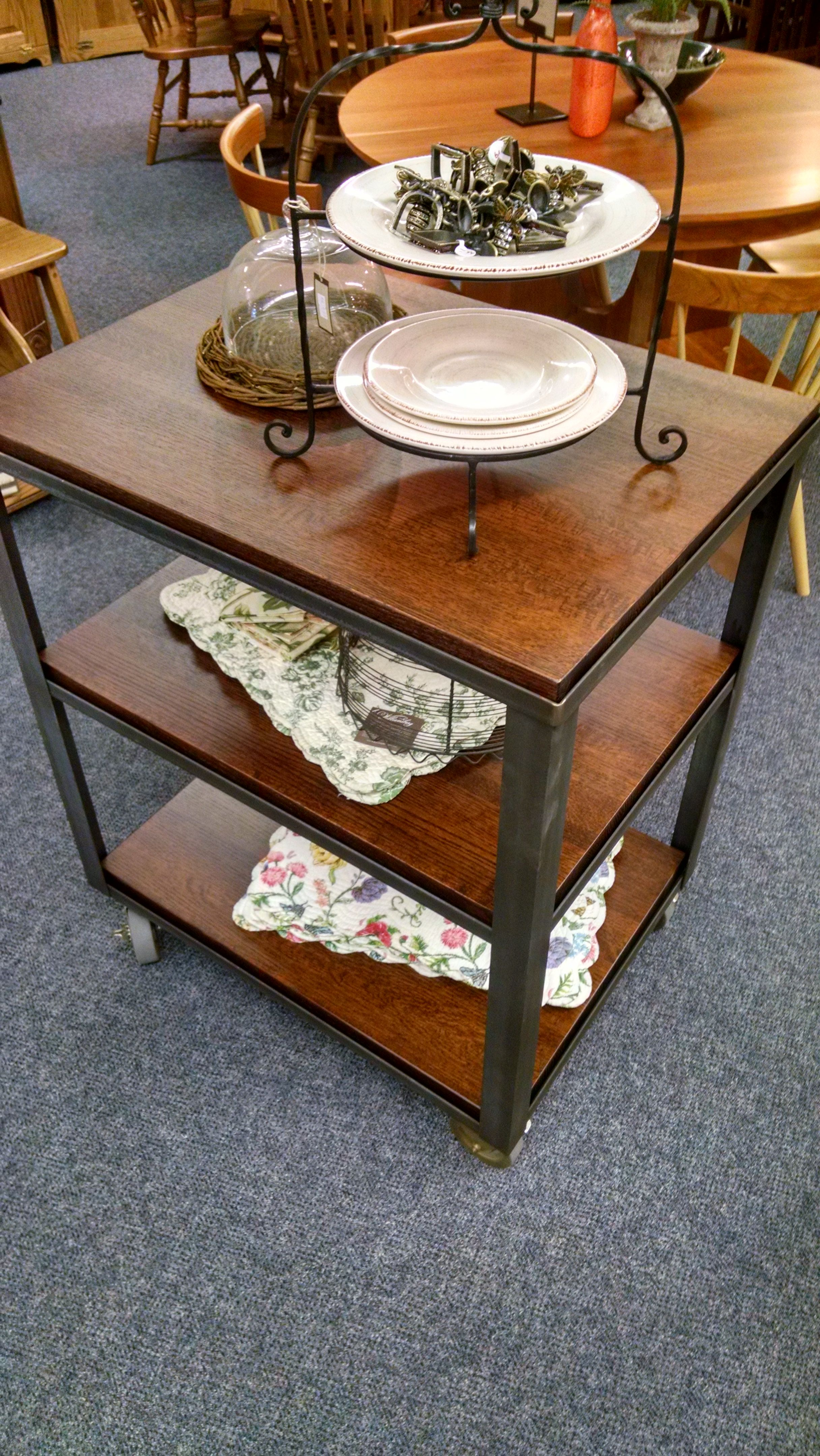 Hand Crafted Butcher Block Island Table With Casters By