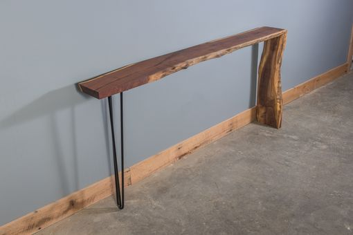 Custom Made Live Edge Black Walnut Waterfall Console Table