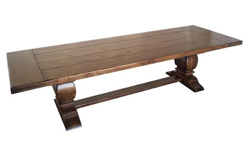 Custom Made Rustic Alder Trestle Table And Bench Set