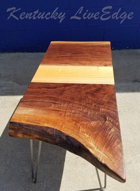 Custom Made Live Edge Coffee Table- Walnut And Mahogany- Modern- Rustic- Sustainable- Reclaimed