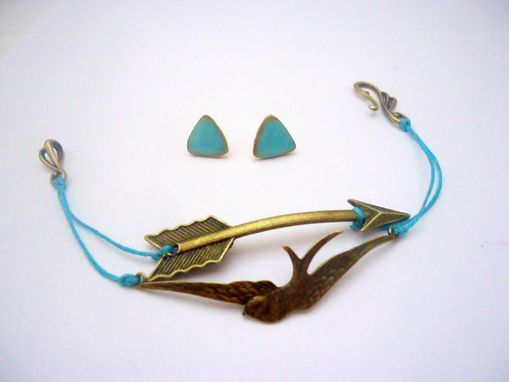 Custom Made Tiffany Blue Arrow And Sparrow Bracelet And Earring Set