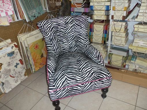 Custom Made Zany Zebra Occasional Chair With Rhinestone Buttons And Hot Pink Cording