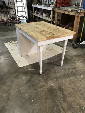 Custom Made Small Space Reclaimed Wood Dining Table With Storage Shelf