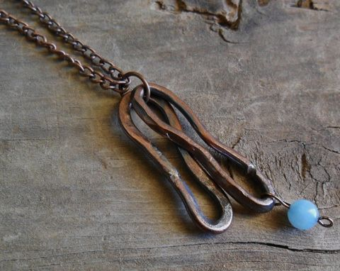 Custom Made Abstract Copper Necklace With Brazilian Blue Quartz