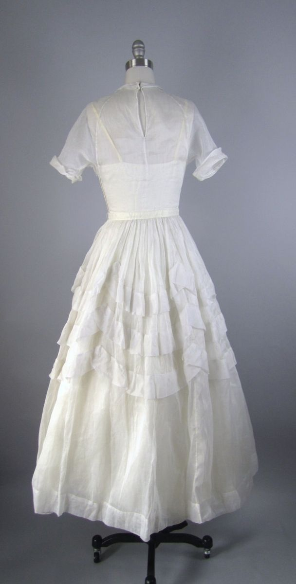 Hand Made Vintage 1940s Wedding Dress In White Cotton Voile With ...
