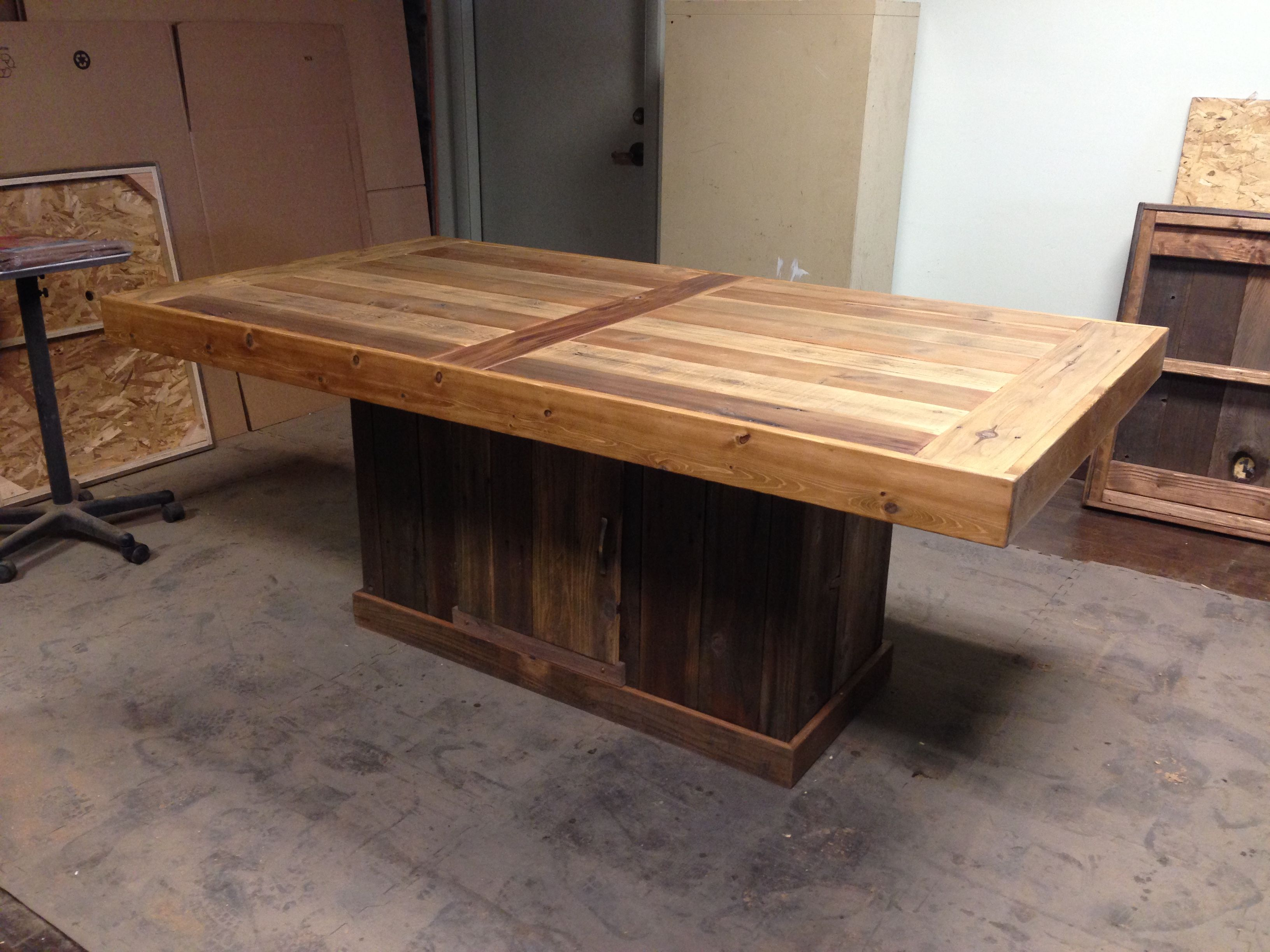 Custom Made Conference Table And Base With Storage By Urban Mining - Conference table with storage