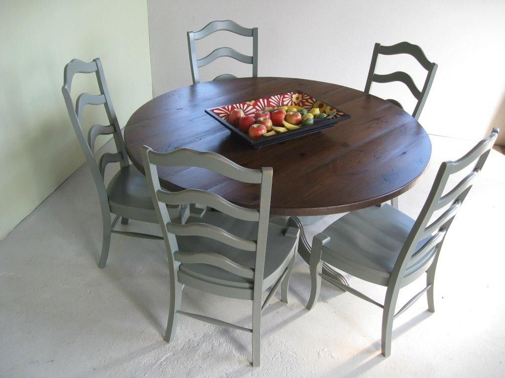 Custom Round Farm Table With Pedestal Base And Matching Chairs By - Farmhouse table pedestal base