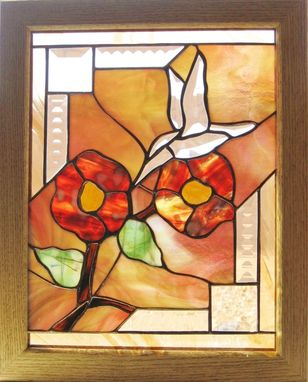 Custom Made Stained Glass Panel-Hummingbird Design