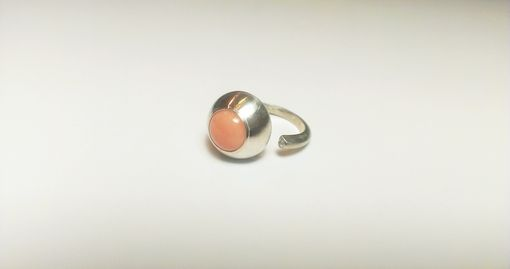 Custom Made Sterling Silver And Coral Ring With Moissanite Accent