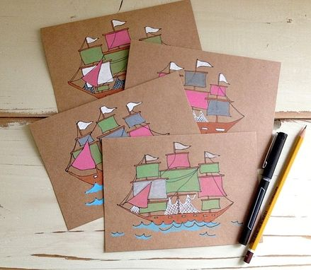 Custom Made Hand Illustrated Sailboat Cards Or Notebook