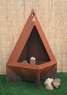 Custom Made Open Steel Chiminea - Modern Chiminea - Enclosed Fire Pit - Metal Backyard Decor - Rustic Chiminea