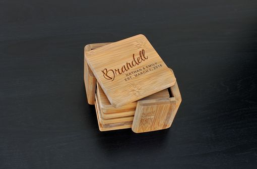 Custom Made Custom Bamboo Coasters, Custom Engraved Coasters --Cst-Bam-Brandell