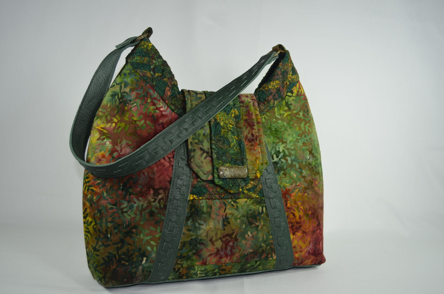 Custom Batik And Leather Hobo Bag by Ljwenger Designs
