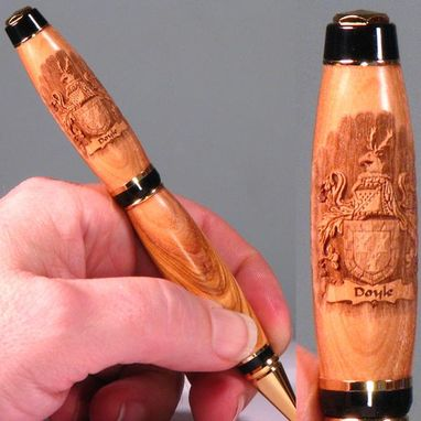 Custom Made Coat Of Arms Engraved Wooden Pen