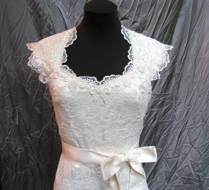 Custom Made Romantic Lace Wedding Dress, Ivory Lace Open Back Wedding Dress