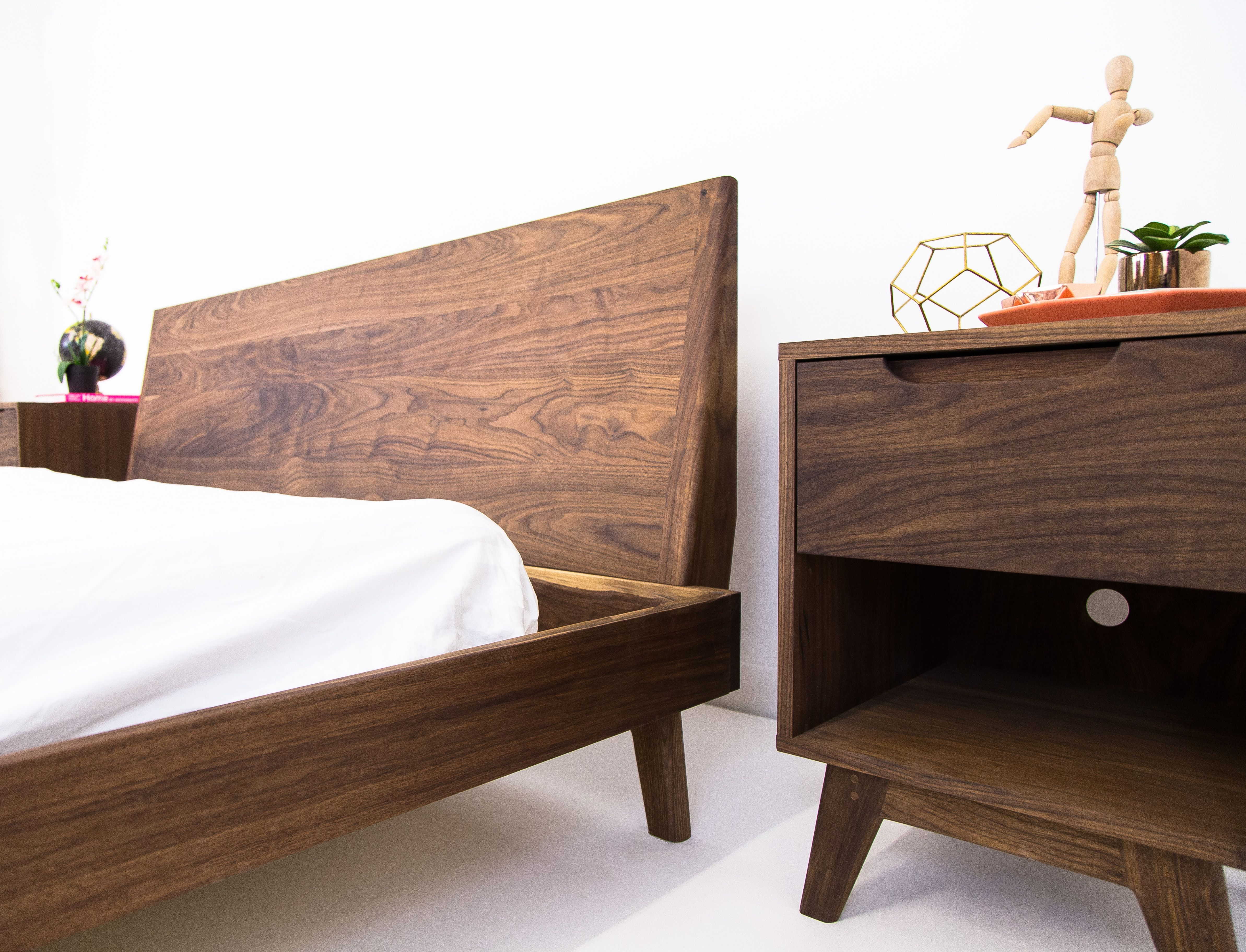 Buy A Custom The Bosco Mid Century Modern Solid Walnut Bed Made