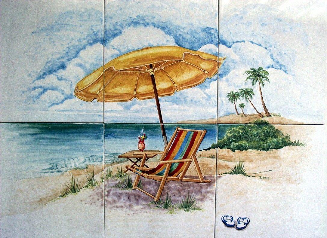 Handmade Hand Painted Custom Ceramic Tile Mural Of Beach Scene By