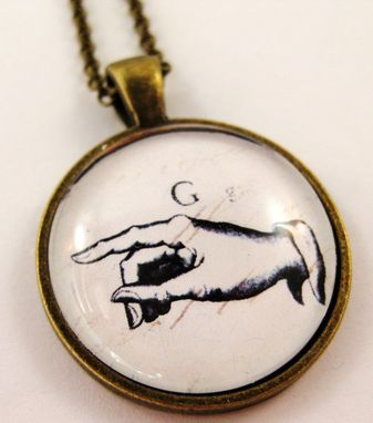 Custom Made Sign Language Glass Pendant On Bronze Rolo Necklace