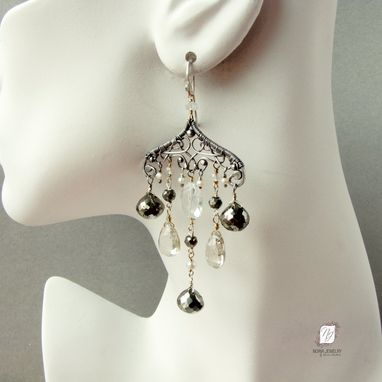 Custom Made Large Chandelier Earrings, Silver, Quartz And Pyrite Gemstones