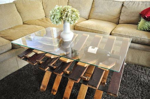 Custom Made Glass Top, Wine Barrel Coffe Table