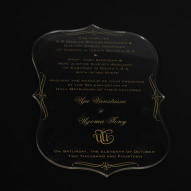 Custom Made Laser Cut/Engraved Acrylic Invitations