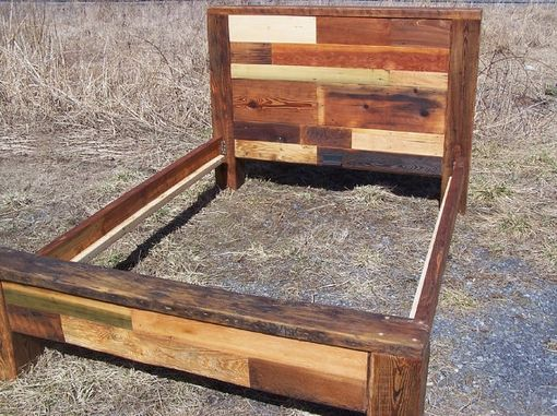 Custom Made Reclaimed Wood Bed Frame, Colorful Wood Quick Patchwork