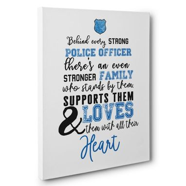 Custom Made Police Officer And Family Canvas Wall Art