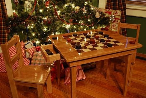 Custom Made Kids Checker Board Table And Chairs
