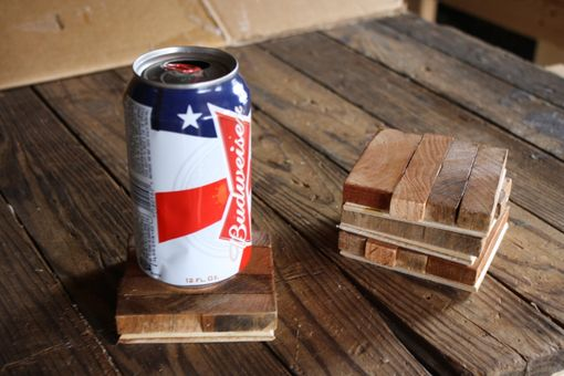Custom Made Reclaimed Wood Butcher Block Style Coasters (Set Of 4)