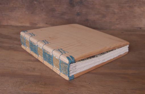 Custom Made Custom Wedding Guest Book With Maple Wood Covers - Personalized Rustic Natural Earth Tone