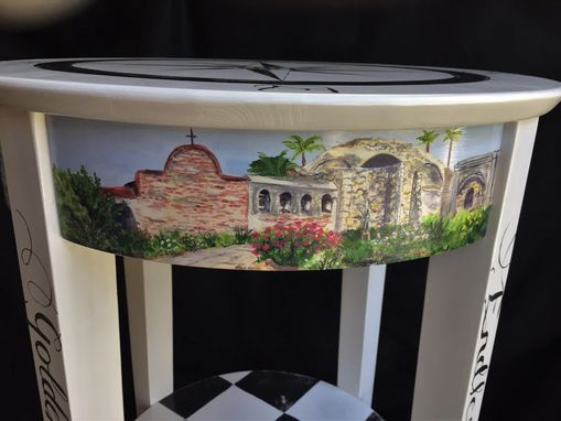 Custom Made Hand Painted Southern California Themed Accent Table