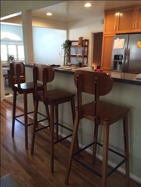 Custom Made Solid Poplar And Metal Barstools