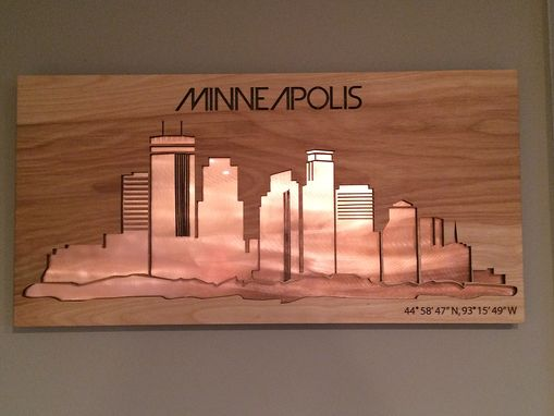 Custom Made Birchwood Laser Cut Skyline With Metal/Wood Inlay