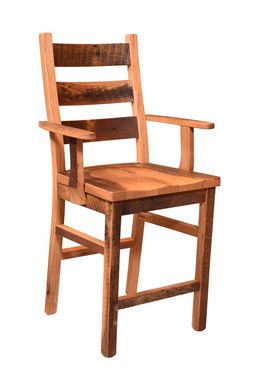 Custom Made Reclaimed Wood Ladderback Bar Chair