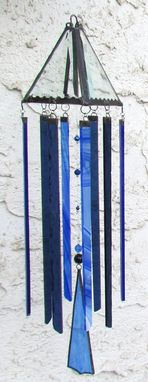 Custom Made Shades Of Blue Glass Sun Chime