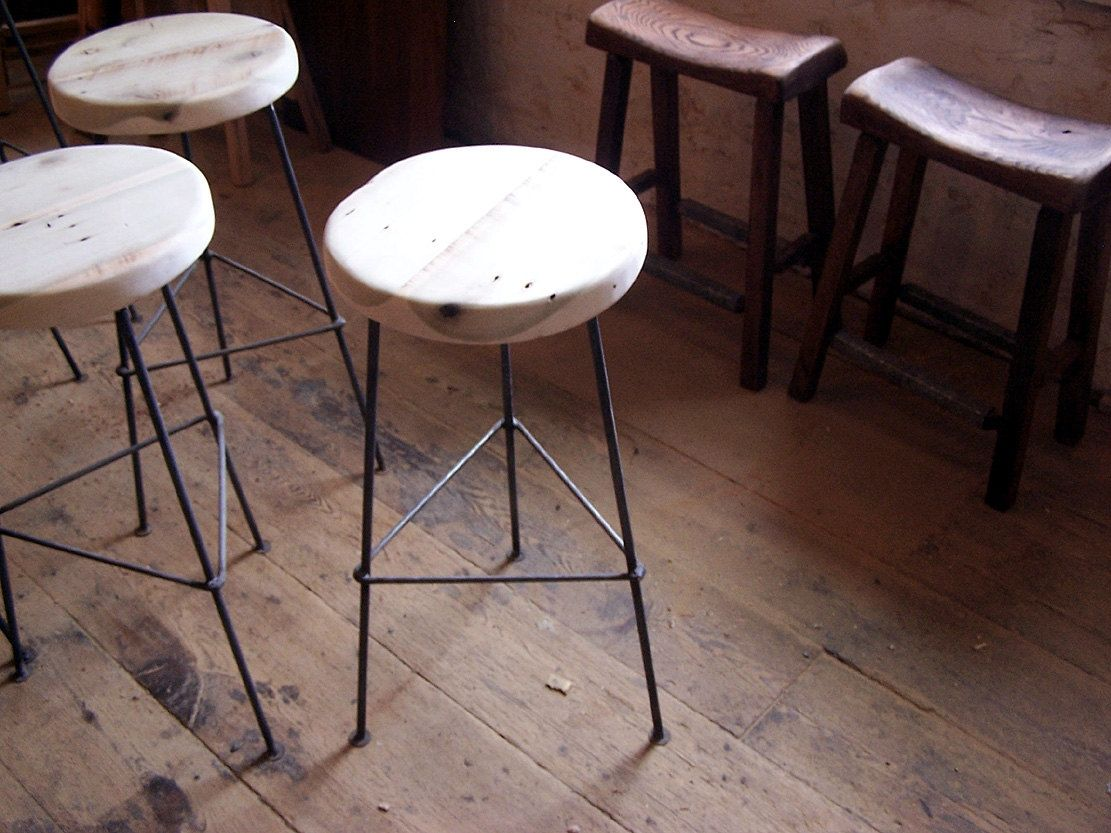 Custom Made Bar Stools From Reclaimed Wood With Metal Legs
