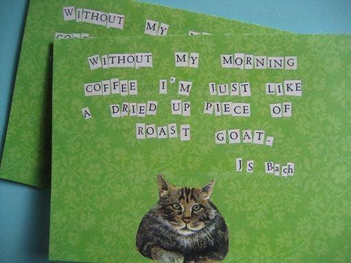 Custom Made Cat Goat Bach Morning Coffee Notecards