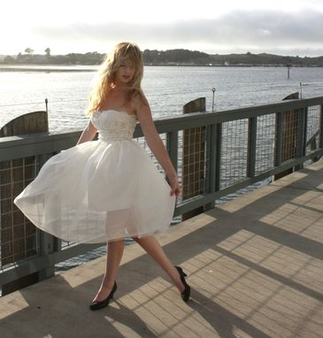 Custom Made Silk Chiffon And Lace Short Strapless Wedding Dress With Detachable Second Skirt