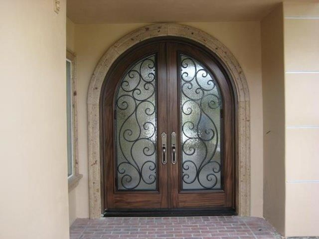Handmade 6 X 8 Custom Alder Entry Door With Flemish Glass And Iron