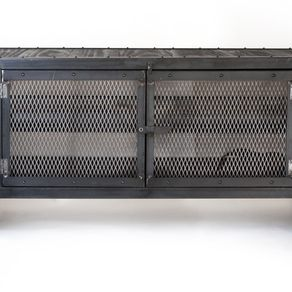 Rolling Steel Media Cabinet Occasional Table Console Accent Tv Stand