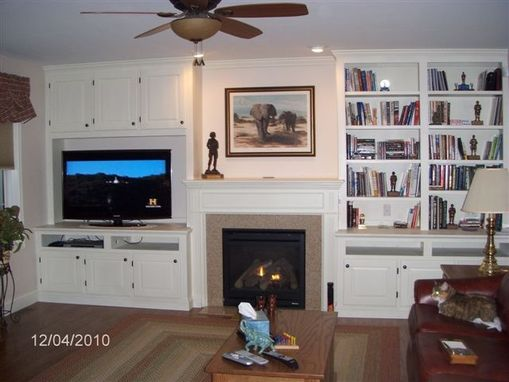 Custom Made Maple Mantel And Built-Ins